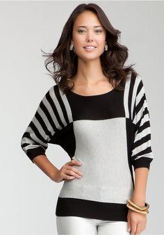 84658ef03a9 Bebe Striped Asymmetric Dolman Sweater - Black Gray - L