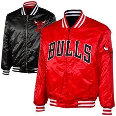 Majestic Chicago Bulls Reversible Satin Full Zip Jacket - Red Black dbe9e0d32a9