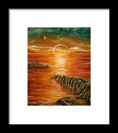 Framed Art Print,  coastal,scene,sunset,ocean,sea,water,planets,earth,cosmos,sky,rocks,island,fantasylike,dreamy,dreamlike,impressive,gold,golden,colorful,multicolor,orange,brown,beautiful,image,images,fine,oil,painting,contemporary,scenic,modern,virtual,deviant,wall,art,awesome,cool,artistic,artwork,for,sale,home,office,decor,decoration,decorative,items,ideas