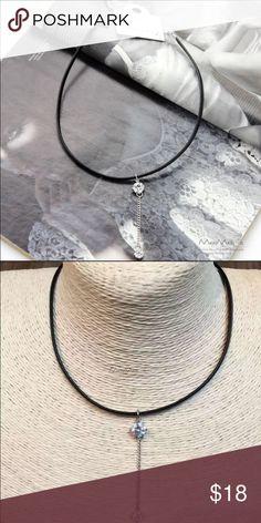 Choker with Crystal Pendant Fashion Black Leather Choker With Crystal Tassel Pendant Jewelry Necklaces