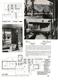 Architects: John Porter Clark & Albert Frey - California P… Vintage House Plans, Modern House Plans, Modern Houses, Casa Frey, Albert Frey, Palm Springs California, Villa Plan, Architectural Prints, Architecture Plan