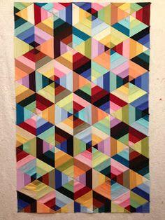 kona solids 3-strip triangles assembled in hexagons alternating light>dark or dark>light