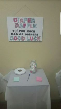 Diaper Raffle station... one pack of diapers to Enter and Win a Prize..