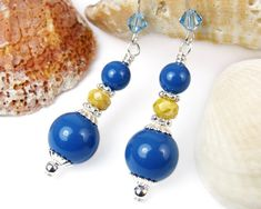 Bright Blue Lapis Pearl Dangles, Yellow Czech Picasso Glass, Swarovski, Aquamarine Crystals, Sterling Silver Ear Hooks, Handmade Earrings @prettygonzo #bmecountdown