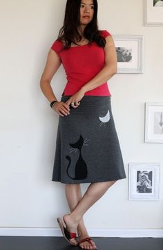 Grey Knee Length Skirt with screen printing and sewing-Our cat and the moon-size…