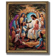 Jesus Christ With Children Religious Home Decor Wall Picture Gold Framed Art Print -- To view further for this item, visit the image link. (This is an affiliate link) #WallArt