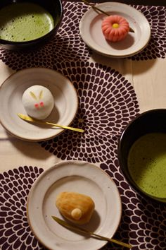 Japanese Afternoon Tea with Wagashi Cake and Matcha Green Tea