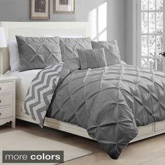 Carmen Gray Pintuck Modern King Comforter Set 4 Pc