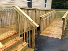 Wood railings do not meet the ADA standard for handrail. Learn how to build an ADA compliant railing for your wooden ramp. Outdoor Handrail, Wood Handrail, Stair Railing, Wooden Ramp, Wooden Decks, Ramp Design, Railing Design, Porch With Ramp, Ada Ramp
