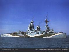 HMS Rodney seen here in her wartime paint scheme.