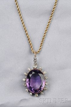 >>>Cheap Sale OFF! >>>Visit>> Antique Amethyst and Diamond Pendant set with a cushion-cut amethyst measuring approx. x x mm framed by bezel-set old mine-cut diamonds silver-topped gold mount suspended from later gold ropetwist chain lg. Purple Jewelry, Amethyst Jewelry, Gems Jewelry, Gemstone Jewelry, Jewelry Box, Jewelry Accessories, Jewelry Necklaces, Fine Jewelry, Jewelry Design