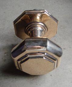 Large Edwardian Octagonal Brass Centre Door Pull Knob
