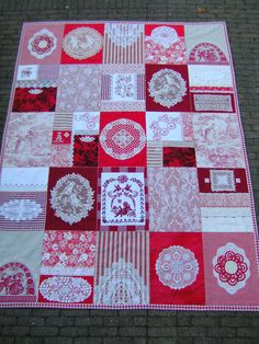 Red & white quilt with doilies, embroidery, angels, toile, lace......
