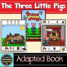 Fairy Tale Favorite!  The story of The Three Little Pigs is summarized using picture supported sentences within an interactive adapted book.  Adapted books are a great way to engage beginning readers and English Language Learners.  This 35 page interactive book tells the story of the Three Little Pigs as they try to stay safe from the Big Bad Wolf.
