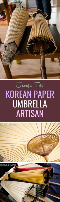 On Day 2 of my visit in Jeonju, my sister wanted to visit a Korean paper umbrella Artisan. Yoon is the only living traditional Korean umbrella maker in Korea. This traditional umbrella is called Jiwusan (지우산) in Korean. Seoul, Gyeongju, Paper Umbrellas, South Korea Travel, Korean Wave, Korean Style, Great Wall Of China, Free Things To Do, China Travel