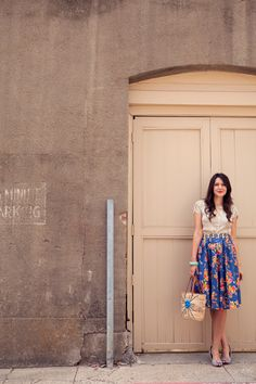 love this blue floral skirt. just the right amount of fullness, great length, lovely print.