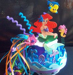 MERMAID theme cake topper or party centerpiece by kharygoarts. www.kharygoart.com  , Clair and Joy , ck out her pinterest pages, all about parties and cakes, lots of great boards.
