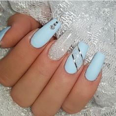 Ice Blue and Diamond jet_set_beauty_nails delizianails . - Ice Blue and Diamond jet_set_beauty_nails delizianails - Blue Gel Nails, Light Blue Nails, Blue Glitter Nails, Blue Coffin Nails, Blue Acrylic Nails, Summer Acrylic Nails, Light Blue Nail Designs, Purple Nails, Stiletto Nails