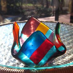 Fused Glass Candle Cup Votive Holder  Contempo Rainbow by GlassCat, $26.00