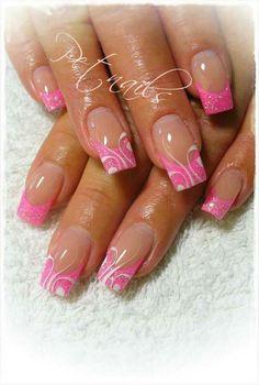 Pink french nails with designs - Nail Art Designs French Nail Designs, Colorful Nail Designs, Beautiful Nail Designs, Cute Nail Designs, Beautiful Nail Art, Gorgeous Nails, Pink Nail Art, Pink Nails, Glitter Nails