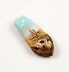 Handmade Polymer Clay Pendant Bead-Seascape-Beach Themed-Turquoise-Aqua-PA 8567 by StudioStJames on Etsy