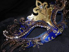 Metallic Masquerade Mask in Blue and Gold