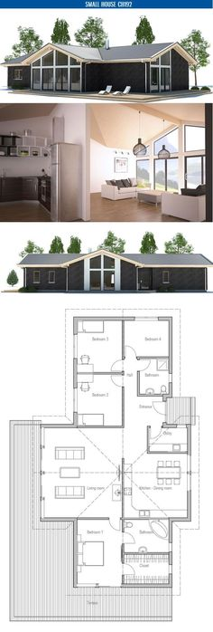 Small House Plan with four bedrooms and high vaulted ceiling in the living room, master bedroom and kitchen.