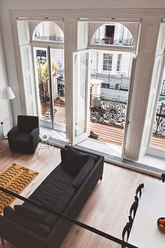 Floor to ceiling windows | airy, bright, white