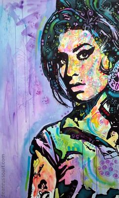 """AMY WINEHOUSE • Original on Watercolor Paper • 26"""" x 40"""""""