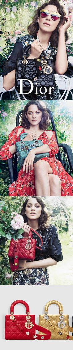 Dior SS17 comes alive with the garden, flowers, colours and fluidity, where the French actress Marion Cotillard dons vivid creations from the brand's Cruise 2017 collection—all while holding the fashion house's iconic Lady Dior Bag. #Dior #SS17 #/marioncotillard #Luxury #fashion #trends #bag #ladydior #obsessory