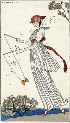George Barbier (1882-1932) - French Art Deco Fashion Illustrator - Robe de Linon by mpt.1607