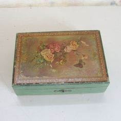 Vintage Florentine box wood mint green with roses and butterflies by trendybindi, $25.00 #decor #storage