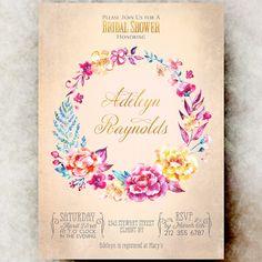Golden Bridal shower Invitation - Rustic bridal shower, wedding shower invitation, Bridal Shower invitation printable, country bridal shower