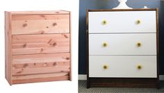 IKEA-RAST night stand.  Hate the knobs on the updated version but love the white drawers and stained top and sides.