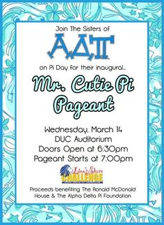 Mr. Cutie Pi Pageant... this would be a great fundraiser!