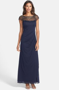 Free shipping and returns on Xscape Beaded Yoke Drape Mesh Gown at Nordstrom.com. Beautiful beading embellishes the scalloped yoke atop an elegant Empire-waist evening gown that's swept to one side and ruched down the back.