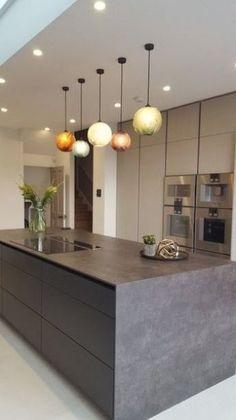 Kitchen Lamps, Kitchen Chandelier, Home Decor Kitchen, New Kitchen, Kitchen Ideas, Kitchen Cabinets, Kitchen Layout, Kitchen Trends, Kitchen Countertops