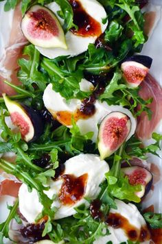 Use arugula in this salad for the super green lettuce! Fig, Prosciutto and Burrata Cheese Salad from @justataste