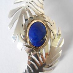 Silver Fern Pendant with Lapis Set in Gold by EveClaireSilver, £390.00