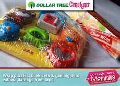 Use Plastic Wrap to Secure Puzzles  - Consignment Supplies on the Cheap: the Dollar Tree Consignment Supplies #TaggingTips