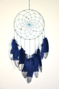 Large Tribal Dream Catcher Navy Blue by DreamCatchersByTasha
