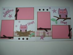 12x12 Pink Owl Sweet Dreams Premade Scrapbook 2 Page Layout. $15.95, via Etsy.