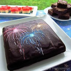 Fourth of July Fireworks Emblazoned Brownie