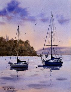 Watercolor paintings boats and the sea gallery by Joe Cartwright, Australian artists. Seascapes, beaches, and lakes. Fishing boats, gondolas and sailing boats. Watercolor Sunset, Watercolor Landscape Paintings, Easy Watercolor, Seascape Paintings, Painting Abstract, Yachting Club, Sailboat Painting, Boat Art, Beginner Painting