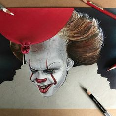 "22.4 mil Me gusta, 98 comentarios - World of Pencils (@worldofpencils) en Instagram: ""Pennywise #wip by artist @chris_clarke_art #pennywise #pennywisetheclown #it #itmovie #fanart…"""