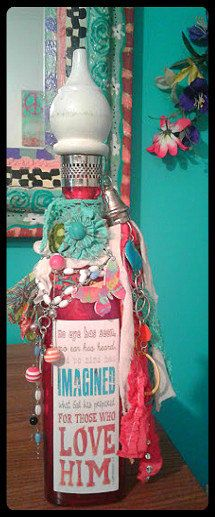 "https://flic.kr/p/LaBUtX | 1 Corinthians 2:9 Altered Bottle | No eye has seen, no ear has heard, and no mind has imagined what God has prepared for those who love Him. Altered bottle.16"" Hot pink clear glass bottle with boho adornments. tassel, beads, repurposed jewelry and finial topper.  Rosary beads and silver cross. made by Jazzie Menagerie"