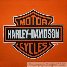 Boneful Fabric Fq Cotton Quilt Panel Block Vtg Orange Black Harley Davidson Logo Harley Davidson Harley Harley Davidson Fabric