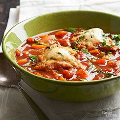 Amp up traditional tomato soup with hearty chunks of carrot, onion, red pepper, tomato, and celery. A dash of cayenne pepper adds heat, while a basil-dumpling topper takes this soup to the next level./