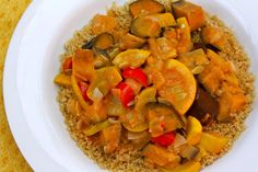Curry and Veggies  11/2 Tbsp, coconut oil 1 bunch bunching onions, or 1 onion, diced 2 Japanese eggplants, about 2 cups, quartered & sliced into 3/4 inch pieces mixed summer squash, about 11/2 cups, diced mixed peppers, about 1 cup, diced 1 yellow tomato, diced 3 tsp. Thai red curry paste 1 cup canned coconut milk 1/2 cup vegetable broth sea salt to taste