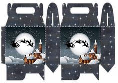 Christmas printable mini box - Santa Claus and mini reindeer in shadow profile over church - against moonlit sky